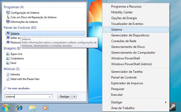 Acessando a opção Sistema no Windows 7 e 8 (Foto: Reprodução/Edivaldo Brito)