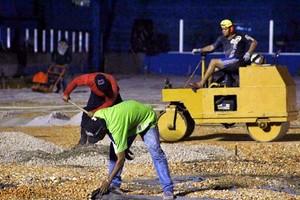 Etapas de colocação do seixo e da areia estão sendo aceleradas (Foto: Fernando Torres/Ascom Paysandu)
