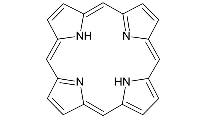 Estrutura da porfirina (Foto: Reprodução/Wikimedia Commons)