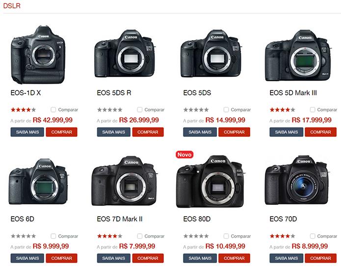 Portfólio da Canon é mais variado, tanto entre as DSLR como entre as semi-profissionais (Foto: Reprodução/Canon)