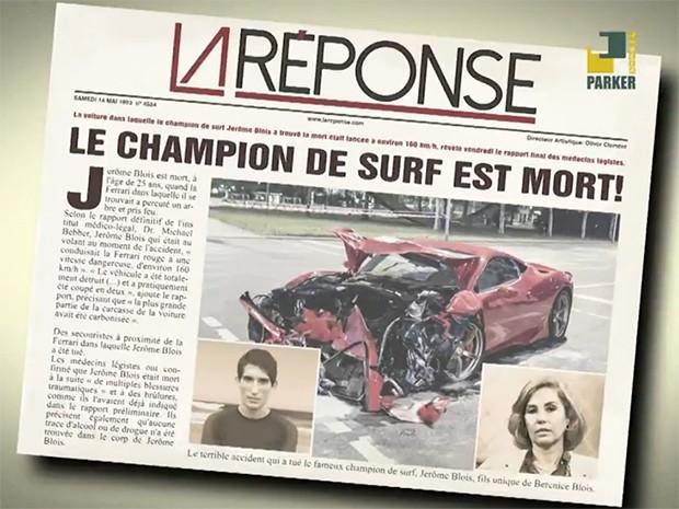 Manchete de jornal anunciando a morte de Jerôme Blois, com sua mãe Bérénice no destaque à direita (Foto: La Réponse)
