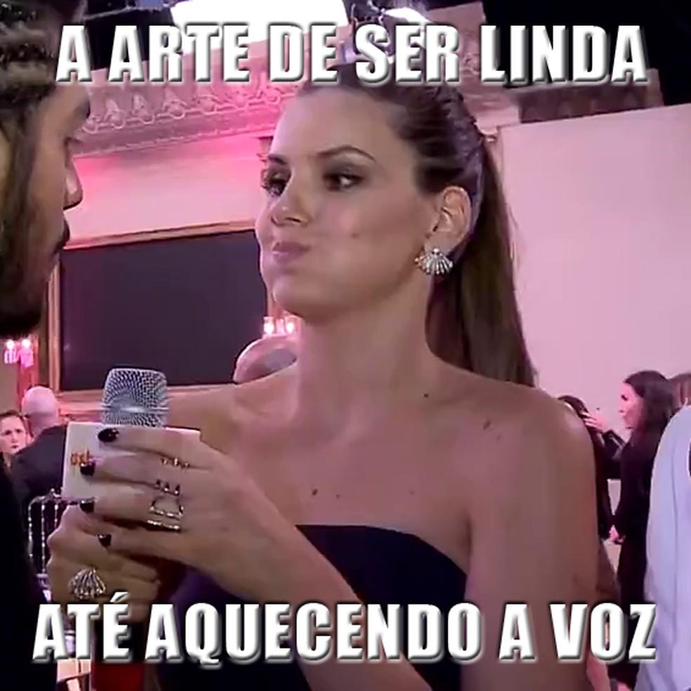 Camila Queiroz brincou que ia virar meme... Dito e feito! (Foto: Gshow)