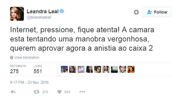 Atriz Leandra Leal comenta anistia caixa 2 (Foto: Reprodução/Twitter/@leandraleal)