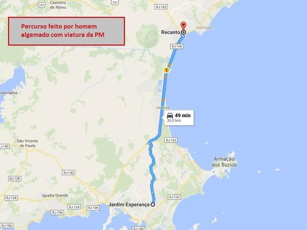 Distância percorrida pelo suspeito é de 37 quilômetros (Foto: Reprodução/Google Maps)