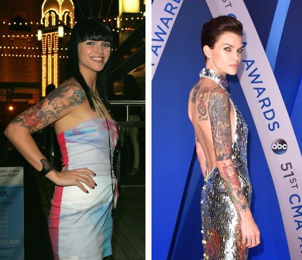 A atriz, modelo e DJ Ruby Rose em uma foto de 2008 e em um registro recente (Foto: Getty Images)