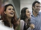 Paloma Bernardi e Tânia Khalil esbanjam simpatia em gravação em aeroporto do Rio
