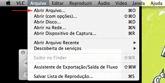 Clique em arquivo, no menu superior, e depois clique em Abrir arquivo. (Foto: Reprodução)