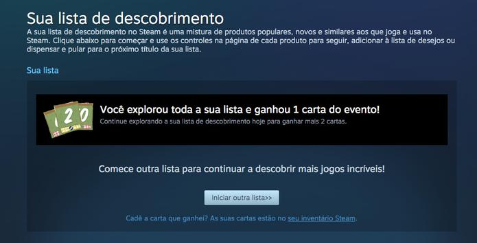 Cartas podem ser desbloqueadas na Summer Sale do Steam (Foto: Reprodução/Felipe Vinha)