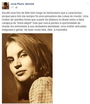 José Pedro Selistre sobre Elke Maravilha (Foto: Reprodução / Facebook)