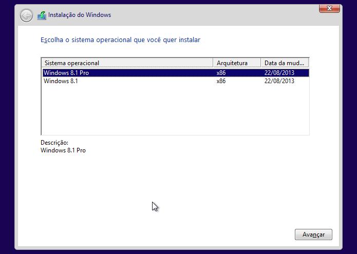 Selecione a versão do Windows 8