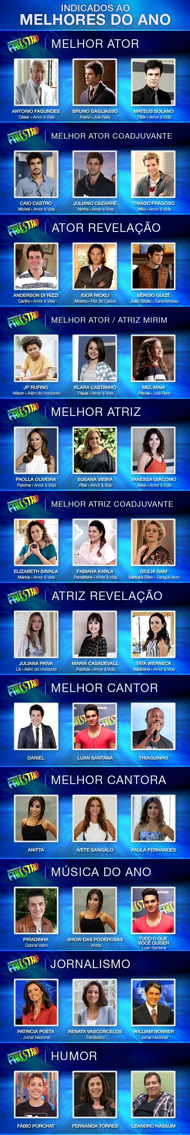 Indicados Melhores do Ano (Foto: Domingão/TV Globo)