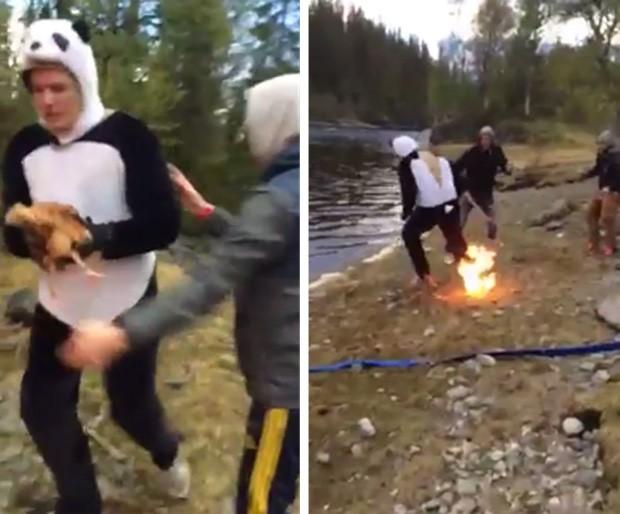 Noivo acabou colocando fogo em uma das pernas durante despedida de solteiro bizarra na Suécia (Foto: Reprodução/YouTube/andreas86)