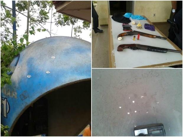 Tiros atingiram telefone público situado no pátio da delegacia (Foto: Carmem Silva/TV Amazonas)