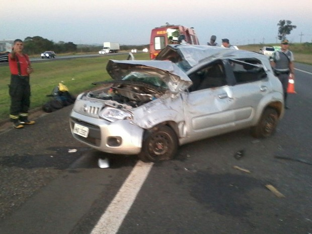 Carro capotou depois que motorista desviou de cão, diz bombeiro (Foto: Arquivo Pessoal)