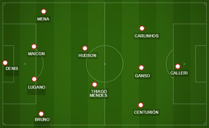 Campinho mostra a escalação do São Paulo para a partida contra o River Plate (Foto: GloboEsporte.com)