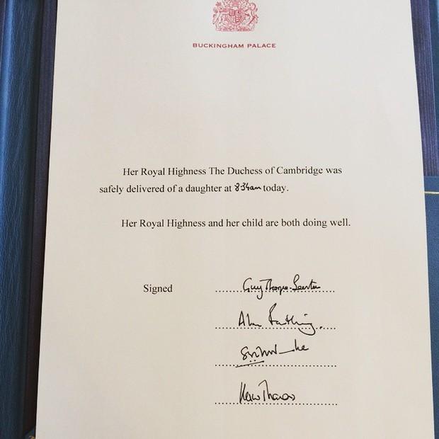 Nascimento do bebê real - Kensington Palace (Foto: Instagram / reprodução)