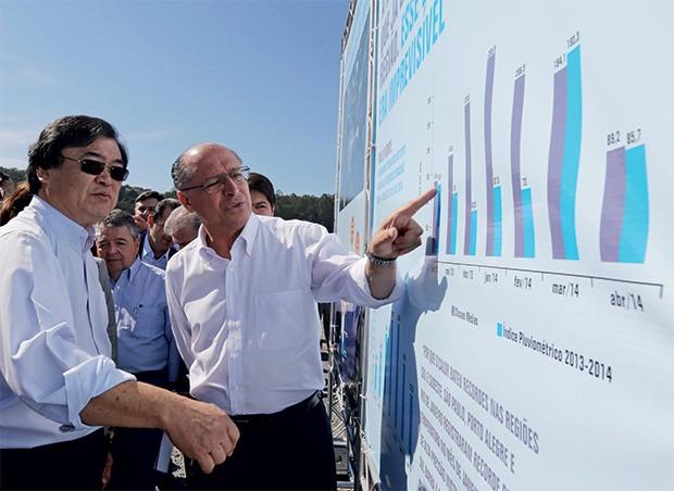 PARCERIA Massato com Alckmin,  em maio de 2014, quando  o Cantareira passou a usar  o volume morto (Foto: Nilton Fukuda/Estadão Conteúdo/Ae)
