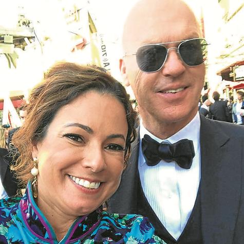 Renata Araújo e Michael Keaton (Foto: Arquivo pessoal)