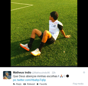 Matheus Índio Santos (Foto: Reprodução/Twitter)