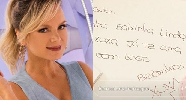 Grávida, Eliana ganha bilhete de Xuxa (Foto: Reprodução/Instagram)