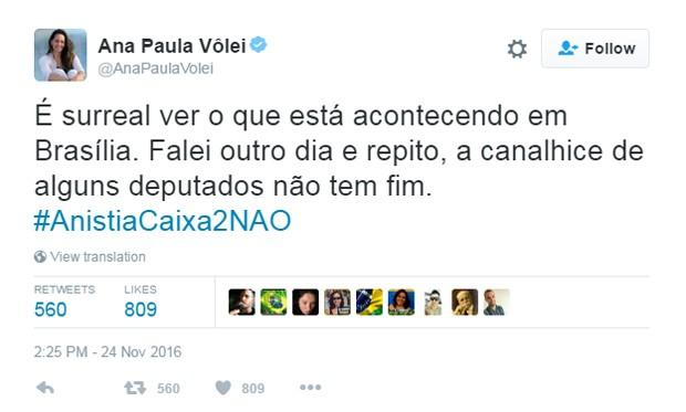 Ana Paula, do vôlei, comenta anista ao caixa 2 (Foto: Reprodução/Twitter/@AnaPaulaVolei)