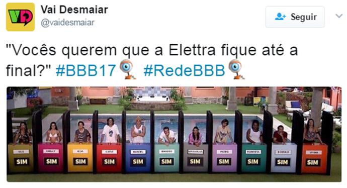 Elettra conquistou o público do BBB17 (Foto: Reprodução Internet/ Reprodução Twitter @VaiDesmaiar)