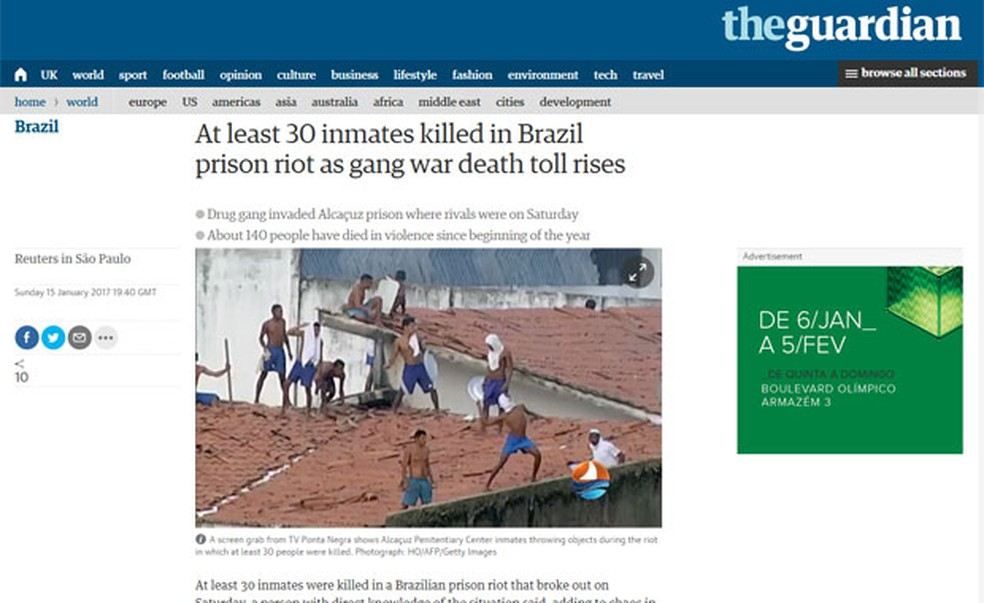 Britânico 'The Guardian' cita guerra de gangues na prisão (Foto: Reprodução/The Guardian)