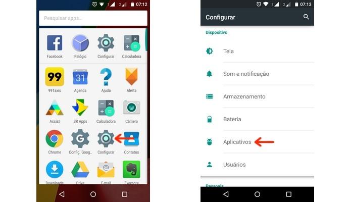 Caminho para chegar no menu Aplicativos do Android (Foto: Reprodução/Raquel Freire)