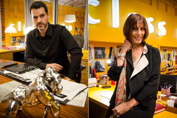 Natan Vasquez (Bruno Garcia) é dono da Class Mídia; Silvia (Mila Moreira) é a diretora de mídia e cérebro funcional da agência (Foto: Raphael Dias/Globo)