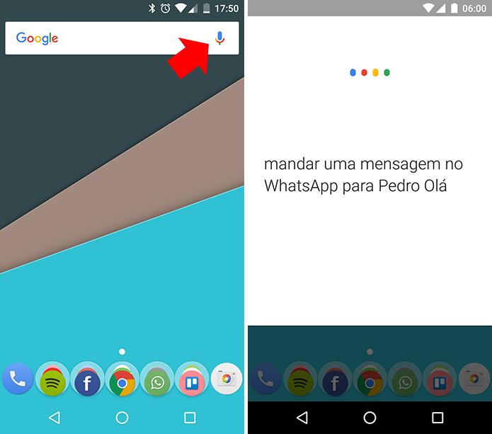 Use o comando de voz para mandar uma mensagem no WhatsApp (Foto: Reprodução/Paulo Alves)
