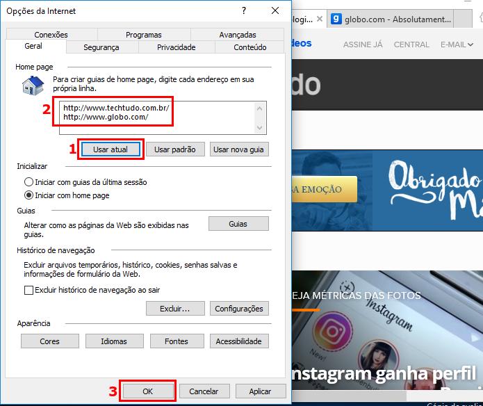 Adicionando as páginas abertas para serem exibidas ao iniciar o Internet Explorer (Foto: Reprodução/Edivaldo Brito)