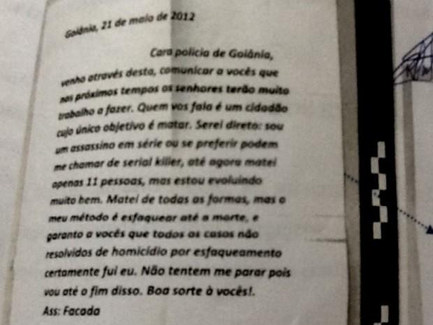 Carta serial killer Tiago Henrique Gomes da Rocha Goiás (Foto: Reprodução/O Popular)