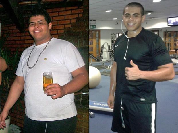 Mudança na dieta e atividade física fizeram o jovem chegar aos 88 kg cerca de um ano e meio depois; fotos mostram antes e depois (Foto: Arquivo pessoal/Jorge Henrique Reis Xavier)