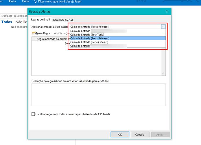 Selecione a conta do Outlook à qual deseja aplicar regra de resposta automática (Foto: Reprodução/Elson de Souza)