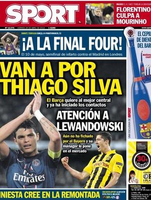 Capa do jornal Sport com Thiago Silva (Foto: Reprodução)