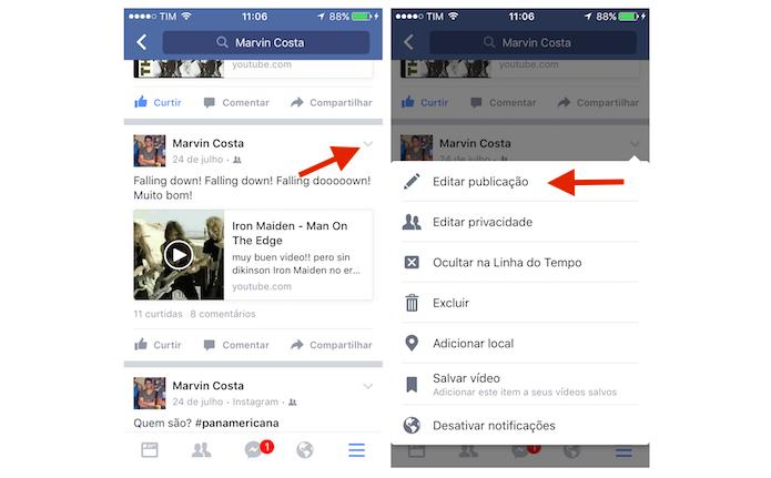 Iniciando a edição de uma publicação do Facebook no celular (Foto: Reprodução/Marvin Costa) (Foto: Iniciando a edição de uma publicação do Facebook no celular (Foto: Reprodução/Marvin Costa))