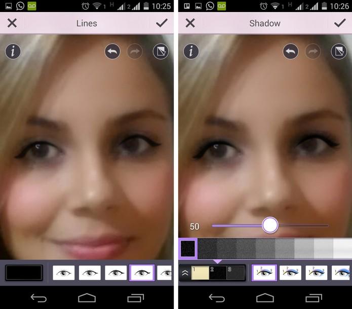 Aplicação de delineador, cílios e sombra nos olhos usando o YouCam Makeup (Foto: Reprodução/ Marcela)