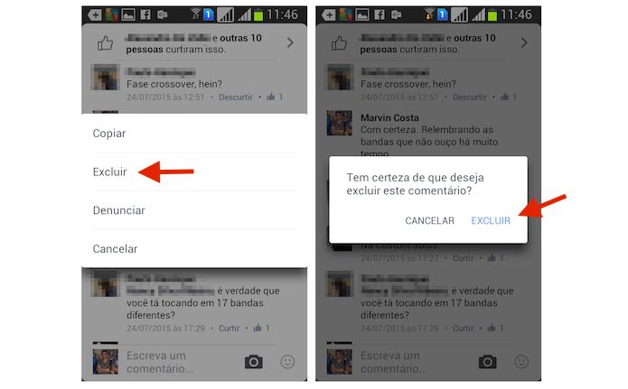 Excluindo um comentário do Facebook pelo Android (Foto: Reprodução/Marvin Costa) (Foto: Excluindo um comentário do Facebook pelo Android (Foto: Reprodução/Marvin Costa))