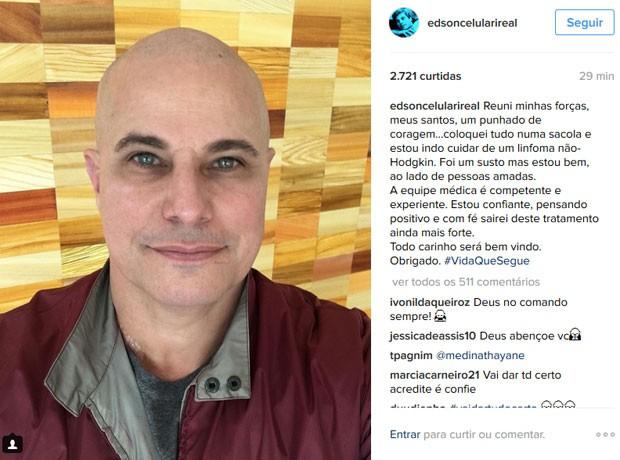 Edson Celulari, em foto publicada em sua conta do Instagram. (Foto: Reprodução/Instagram/Edson Celulari)