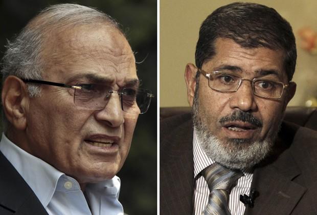 O ex-premiê Ahmed Shafiq (à esquerda) e o islamita Mohamed Morsi em fotos deesta segunda-feira (28) (Foto: AFP)