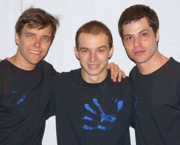 Vinicius Materguim (Centro) é escolhido o primeiro Blue Man brasileiro (Foto: Caldeirão do Huck/TVGlobo)