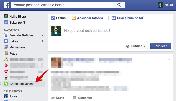Acesse o Facebook e clique sobre a opção indicada (Foto: Reprodução/Helito Bijora)