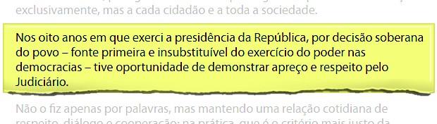 Trecho de carta de Lula (Foto: Reprodução/Instituto Lula)