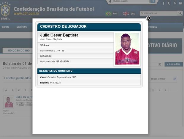 Júlio Baptista é inscrito no BID da CBF (Foto: Reprodução / Site Oficial da CBF)