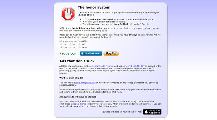 Página de doação para os desenvolvedores do AdBlock (Foto: Felipe Alencar/TechTudo) (Foto: Página de doação para os desenvolvedores do AdBlock (Foto: Felipe Alencar/TechTudo))