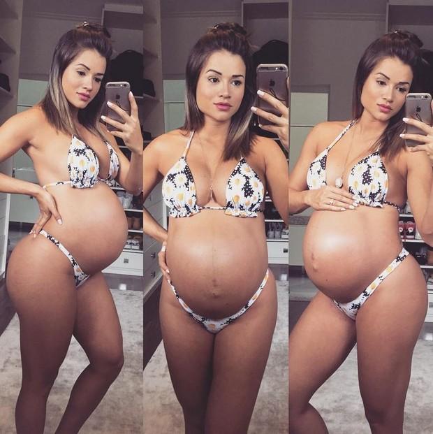 Aryane Steinkopf mostra a barriga de grávida (Foto: Reprodução/Instagram)