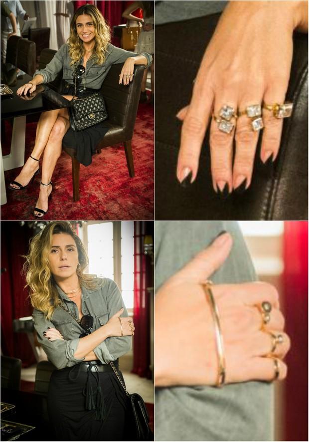 Personagem Antena, vivido por Giovanna Antonelli, na novela A Regra do Jogo, usa aneis dourados com pedras nas duas mãos (Foto: TV Globo/Divulgação)