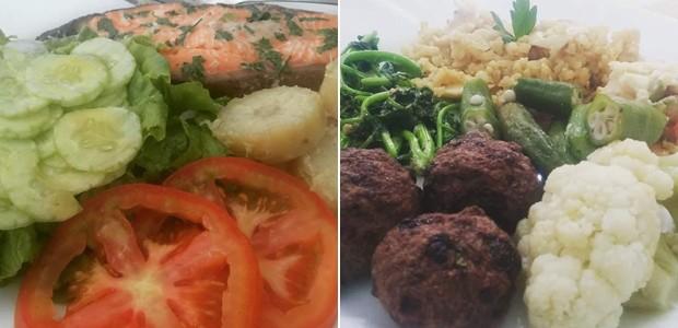 Pratos de Thais têm sempre uma fonte de carboidrato, uma proteína e muita fibra (Foto: Thais do Carmo Mouço Costa/Arquivo Pessoal)