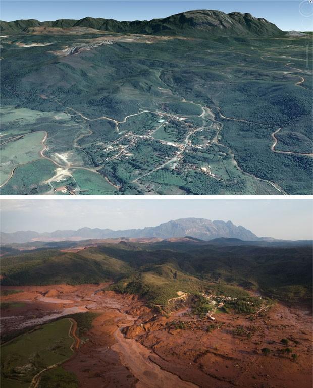 Combinação de imagens mostra parte da cidade destruída após rompimento de barragens no distrito de Bento Rodrigues, em Minas Gerais (Foto: Felipe Dana/AP; Reprodução/Google Earth)