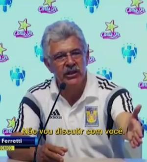 Ferretti se irrita com repórter após ser eliminado no México (Foto: Reprodução SporTV)